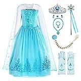 ReliBeauty Disfraz de niña Disfraz de Copo de Nieve de Lentejuelas Plisadas de Manga Larga Frozen Princess Elsa,con accessori (3-4)