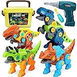 Dreamon Dinosaurios Juguetes para Niños con Caja de Almacenamiento Taladro Eléctrico, Construccion Juguete Dducativos Regalos para Niños Niñ