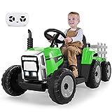 METAKOO Tractor Eléctrico 12V 7Ah 2+1 Cambio de Marchas, Tractor Juguete de Montar con Faro de 7 LED, Botón de Bocina/Reproductor MP3/ Bluetooth/Puerto USB/Control Remoto para Niño 3-6 años (Verde)